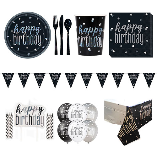 Black Glitz Happy Birthday 8 Person Deluxe Party Pack