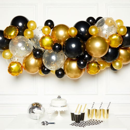 Black & Gold DIY Garland Balloon Arch Kit