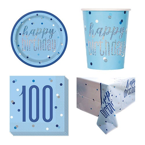Blue Glitz 100th Birthday 8 Person Value Party Pack