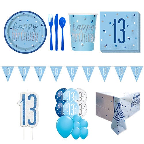 Blue Glitz 13th Birthday 16 Person Deluxe Party Pack