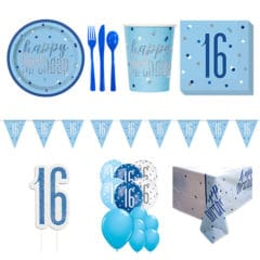 Blue Glitz 16th Birthday 16 Person Deluxe Party Pack