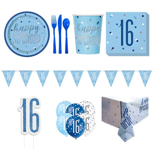 Blue Glitz 16th Birthday 8 Person Deluxe Party Pack