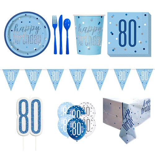 Blue Glitz 80th Birthday 8 Person Deluxe Party Pack