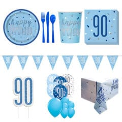 Blue Glitz 90th Birthday 16 Person Deluxe Party Pack