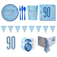 Blue Glitz 90th Birthday 8 Person Deluxe Party Pack
