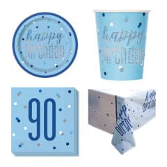 Blue Glitz 90th Birthday 8 Person Value Party Pack