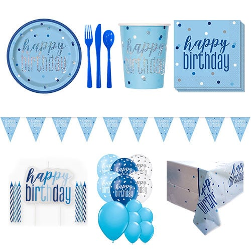 Blue Glitz Happy Birthday 16 Person Deluxe Party Pack
