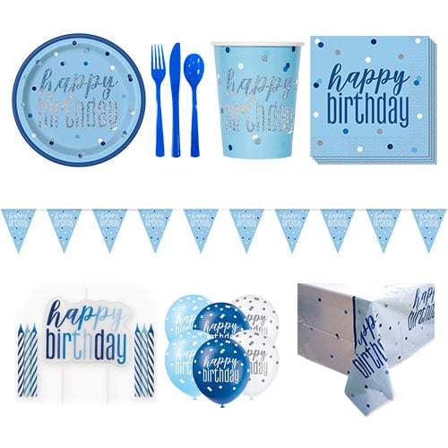 Blue Glitz Happy Birthday 8 Person Deluxe Party Pack