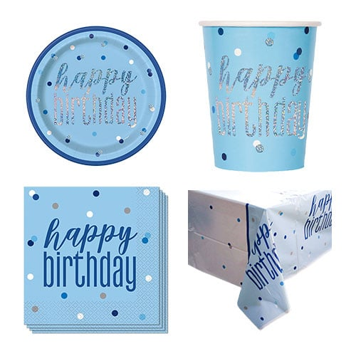 Blue Glitz Happy Birthday 8 Person Value Party Pack