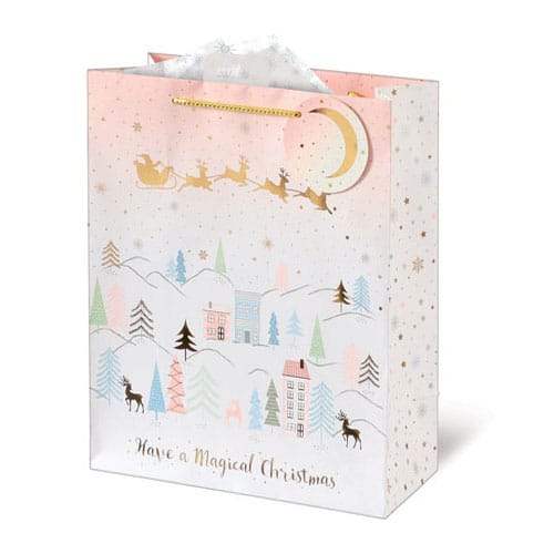 Metallic Blush Landscape Christmas Large Gift Bag 33cm