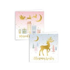 Assorted Metallic Blush Scene Christmas Cards with Envelopes 15cm - Pack of 12