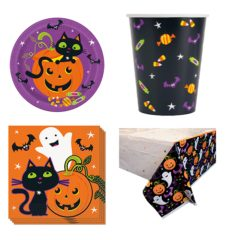 Cat & Pumpkin Halloween 8 Person Value Party Pack