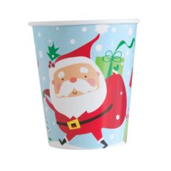 Colourful Santa Christmas Paper Cups 270ml - Pack of 8