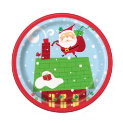 Colourful Santa Christmas Round Paper Plates 17cm - Pack of 8