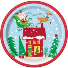 Colourful Santa Christmas Round Paper Plates 22cm - Pack of 8