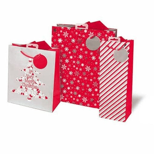Metallic Contemporary Mixed Christmas Gift Bags - Pack of 3