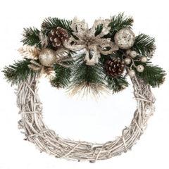 Deluxe Glitter Golden Wreath Christmas Decoration 33cm