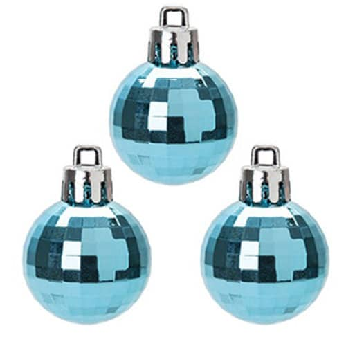 Disco Ice Blue Baubles Christmas Tree Decorations 5cm - Pack of 8