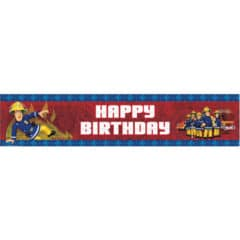 Fireman Sam Happy Birthday Holographic Foil Banner 2.7m