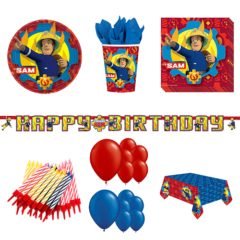 Fireman Sam Theme 16 Person Deluxe Party Pack