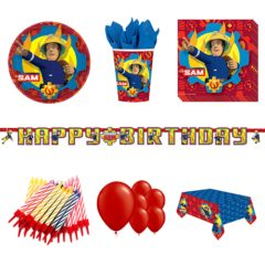 Fireman Sam Theme 8 Person Deluxe Party Pack