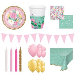 Floral Tea Theme 16 Person Deluxe Party Pack