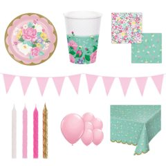 Floral Tea Theme 8 Person Deluxe Party Pack