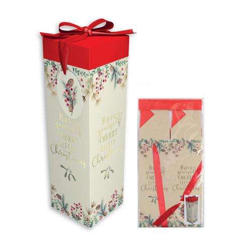 Metallic Foliage Luxury Christmas Bottle Gift Box 33cm