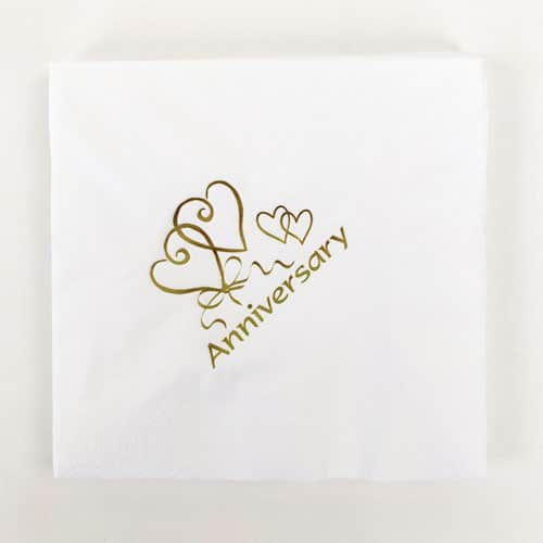 Gold Foil Stamped Anniversary Napkins 40cm 3 Ply - Pack of 20