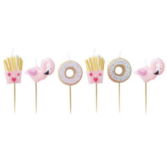 Good Vibes Fries Donuts And Flamingos Party Candles - Pack of 6