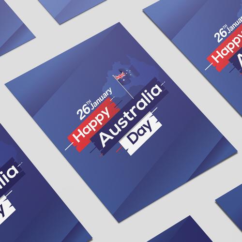 Happy Australia Day Flag On Stick A2 Poster PVC Party Sign Decoration 59cm x 42cm
