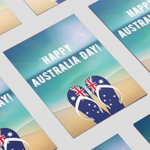 Happy Australia Day Flip Flops A2 Poster PVC Party Sign Decoration 59cm x 42cm