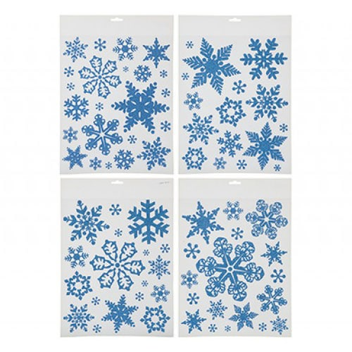 Blue Glitter Snowflakes Christmas Stickers Window Decorations