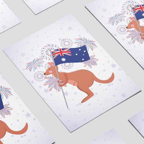 Kangaroo With Australian Flag A2 Poster PVC Party Sign Decoration 59cm x 42cm