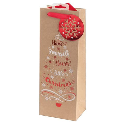 Metallic Kraft Tree & Text Christmas Bottle Gift Bag 36cm