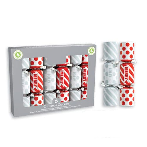 Mini Red & Silver Christmas Crackers 15cm / 6 in - Pack of 6