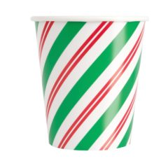 Peppermint Christmas Paper Cups 270ml - Pack of 8