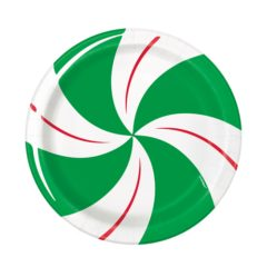Peppermint Christmas Round Paper Plates 17cm - Pack of 8