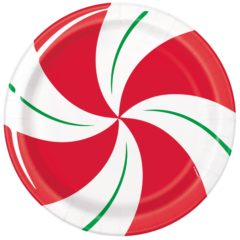 Peppermint Christmas Round Paper Plates 22cm - Pack of 8