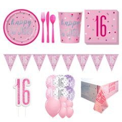 Pink Glitz 16th Birthday 16 Person Deluxe Party Pack