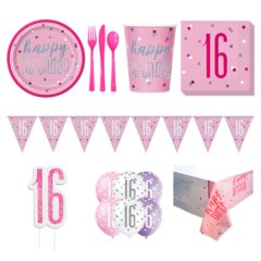 Pink Glitz 16th Birthday 8 Person Deluxe Party Pack