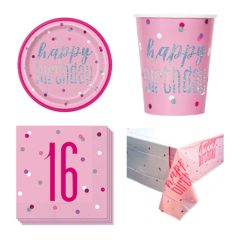 Pink Glitz 16th Birthday 8 Person Value Party Pack