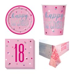 Pink Glitz 18th Birthday 8 Person Value Party Pack
