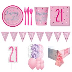 Pink Glitz 21st Birthday 16 Person Deluxe Party Pack