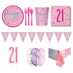 Pink Glitz 21st Birthday 8 Person Deluxe Party Pack