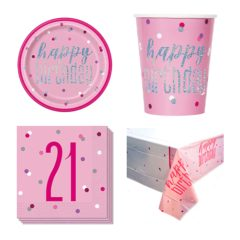 Pink Glitz 21st Birthday 8 Person Value Party Pack