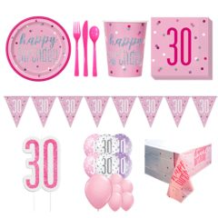 Pink Glitz 30th Birthday 16 Person Deluxe Party Pack