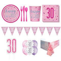 Pink Glitz 30th Birthday 8 Person Deluxe Party Pack