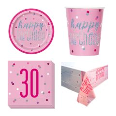 Pink Glitz 30th Birthday 8 Person Value Party Pack