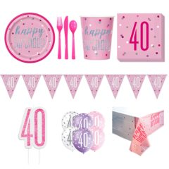 Pink Glitz 40th Birthday 8 Person Deluxe Party Pack